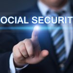pointing a screen with social security words, workers compensation